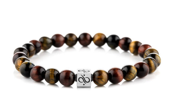 Classic Tricolor Tiger Eye, 8mm, Silver bracelet