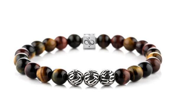 Premium Tricolor Tiger Eye, 8mm, Silver bracelet