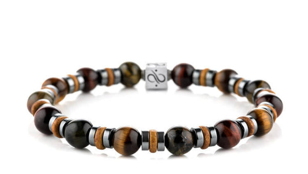 Wired Cider Brown Ceramic - Tricolor Tiger Eye, 8mm, Silver bracelets