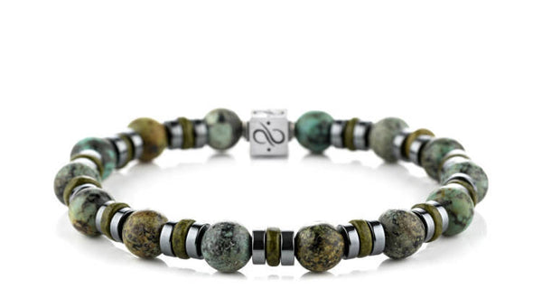Wired Olive Green Ceramic - African Turquoise, 8mm, Silver bracelets