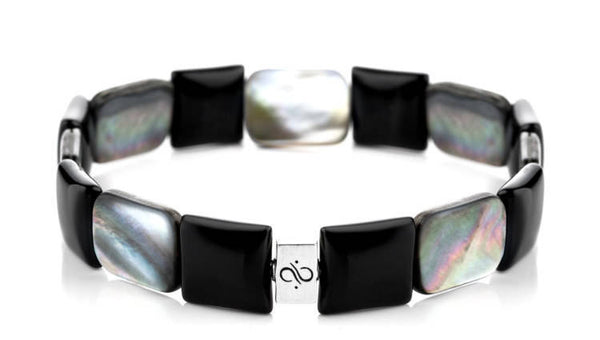 Ashlar Smooth Black Onyx - Black Lip Shell, 12mm, Silver bracelet