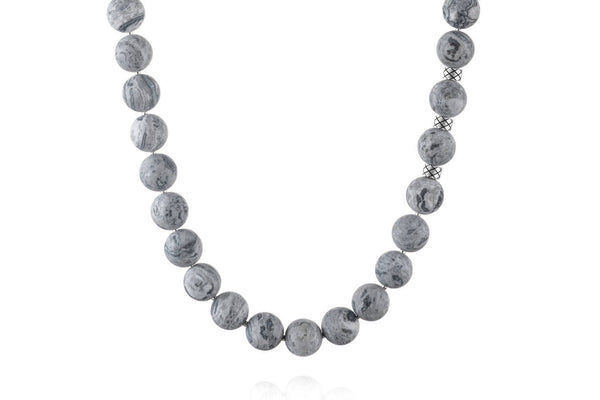 Prime Matte Picasso Jasper and Silver, 12mm, Silver necklace
