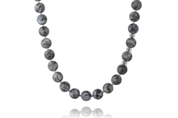 Necklace Matte Labradorite, 12mm, set