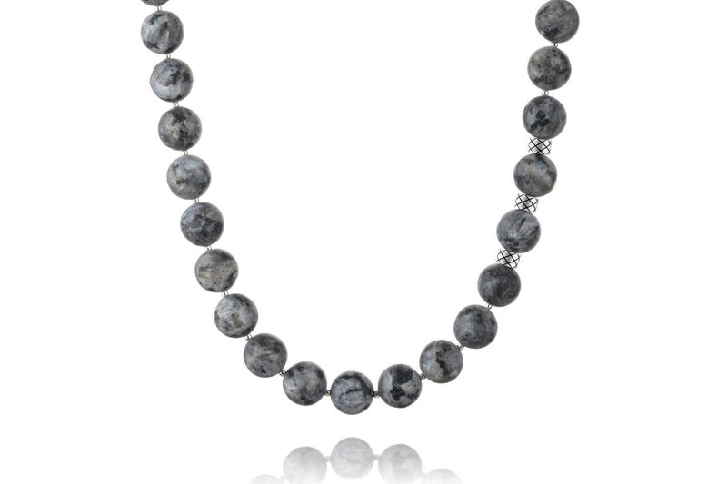 Prime Matte Labradorite and Silver, 12mm, Silver necklace