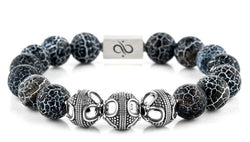 Premium Matte Black Crackle Agate, 12mm, Silver bracelet