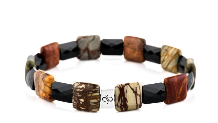 Ashlar Black - Multicolor Picasso, 12mm, Silver bracelet