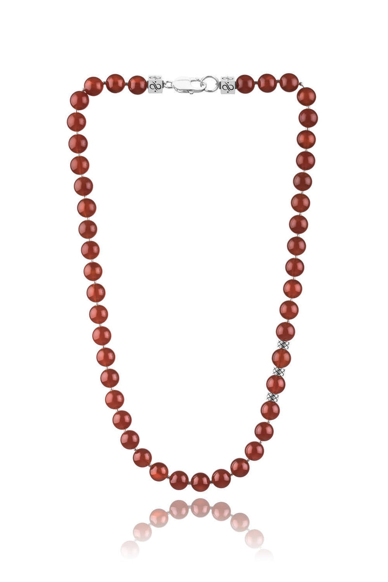 Prime Carnelian and Silver, 10mm, Silver necklace