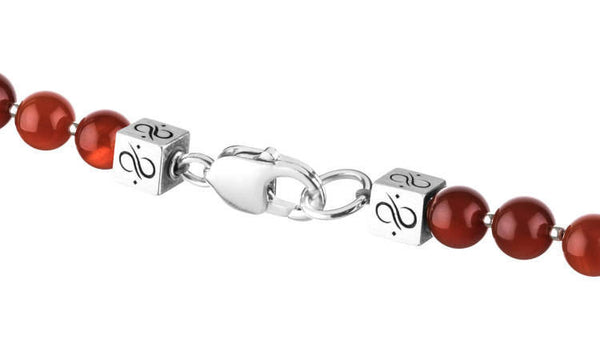 Prime Carnelian and Silver, 8mm, Silver necklace