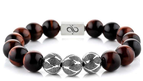 Nascor Red Tiger Eye (12mm) Silver