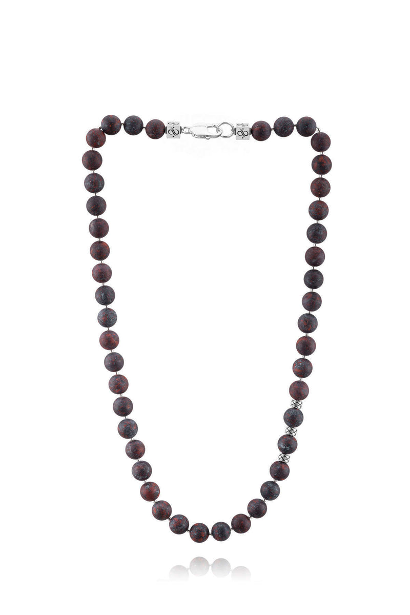 Necklace Matte Brecciated Jasper, 10mm, Set