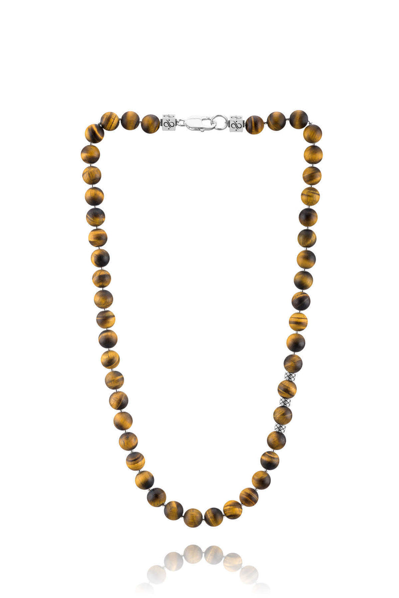 Prime Matte Tiger Eye and Silver, 10mm, Silver necklace