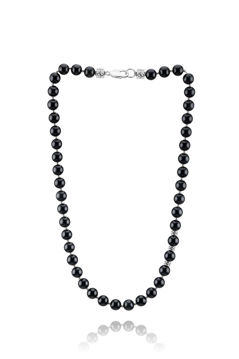 Prime Obsidian and Silver, 10mm, Silver necklace