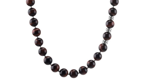 Prime Red Tiger Eye and Silver, 10mm, Silver necklace