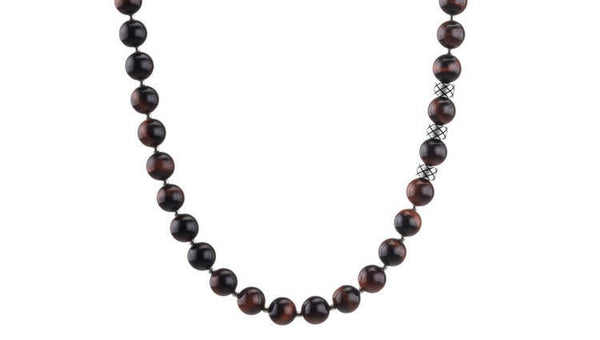 Prime Red Tiger Eye and Silver, 8mm, Silver necklace