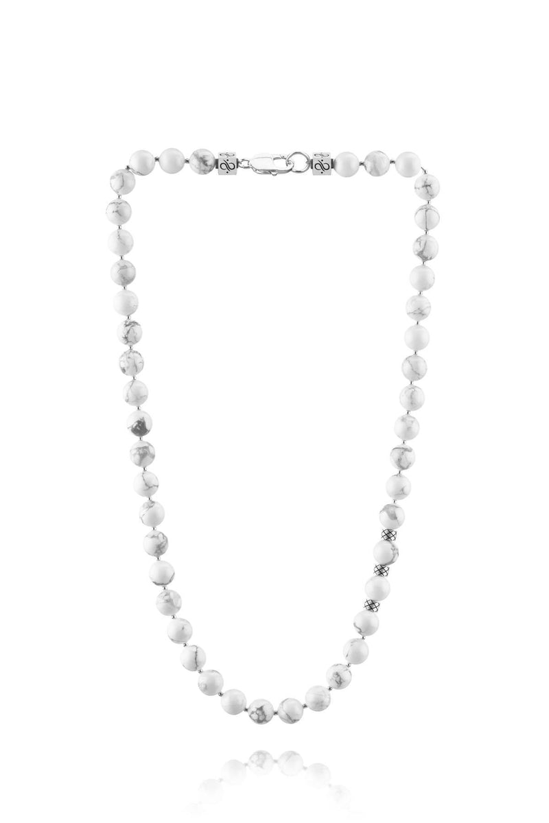 Prime Howlite and Silver, 10mm, Silver necklace