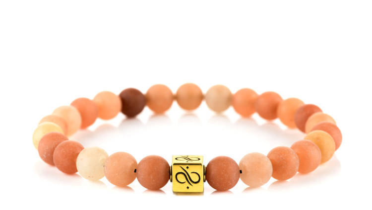 Classic Matte Orange Aventurine, 8mm,  Gold