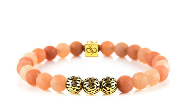Premium Matte Orange Aventurine (8mm) Gold
