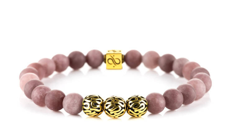 Premium Matte Purple Aventurine, 8mm, Gold bracelet