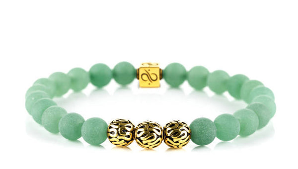 Premium Matte Green Aventurine (8mm) Gold