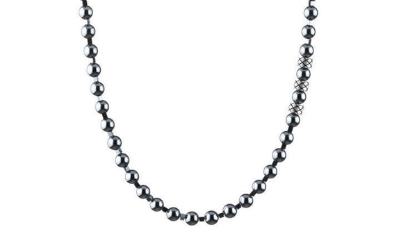 Prime Hematite and Hematite Squares, 6mm, Silver necklace