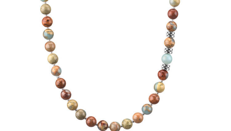 Prime Regalite Jasper and Silver, 8mm, Silver necklace
