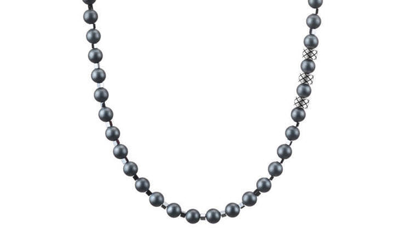 Prime Matte Hematite and Hematite Squares, 6mm, Silver necklace
