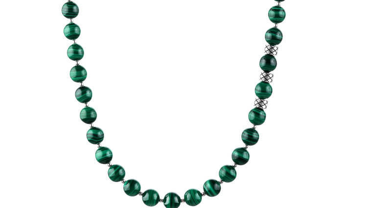 Prime Malachite and Silver, 8mm, Silver necklace