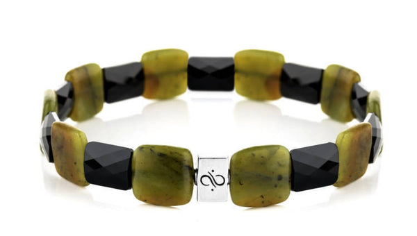 Ashlar Black - Chrysoprase, 12mm, Silver bracelet