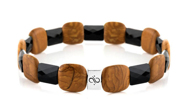 Ashlar Black - Petrified Wood Stone, 12mm, Silver bracelet
