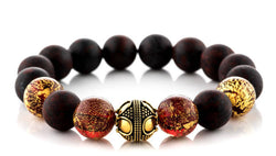 Lunar Red - Matte Brecciated Jasper, 12mm, Gold bracelet