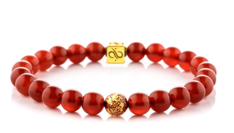 Spring Festival Red Agate, 8mm, Gold bracelet