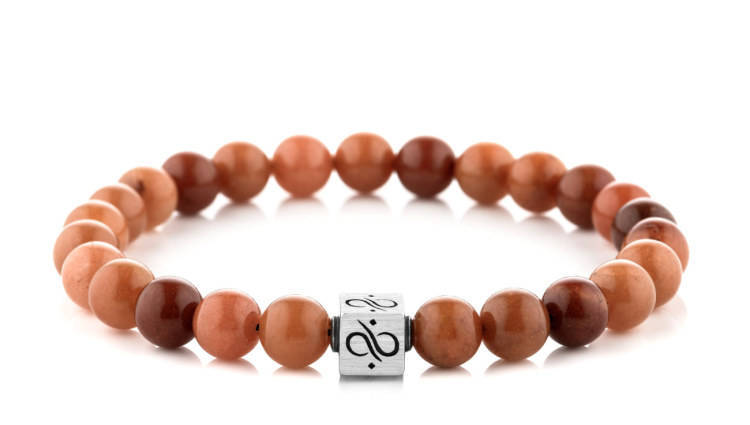 Classic Orange Jade, 8mm, Silver bracelet