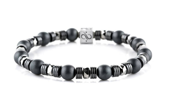 Wired Matte Hematite, 8mm, Silver bracelet