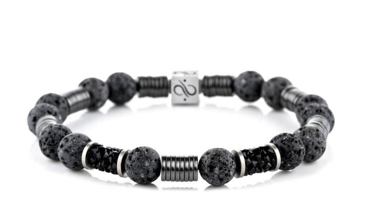 Wired Long Grey Lava, 8mm, Silver bracelet