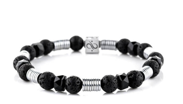 Long Wired Black Lava, 8mm, Silver bracelet