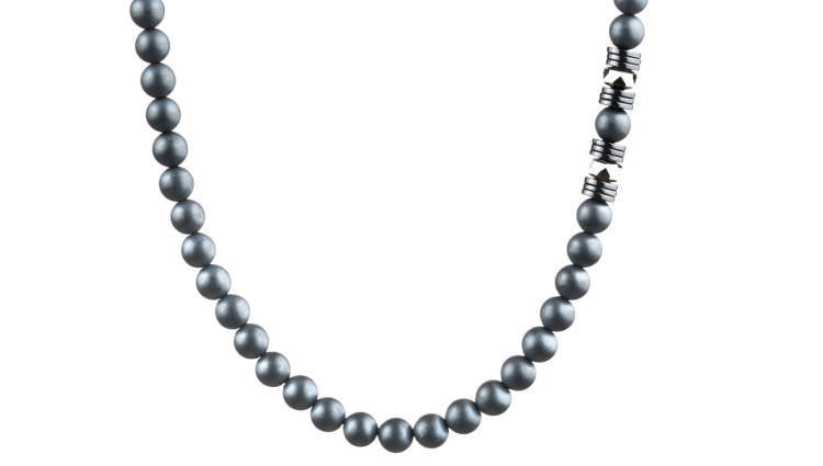 Wired Matte Hematite, 6mm, Silver necklace