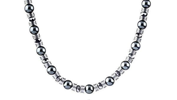 Wired Hematite, 6mm, Silver necklace
