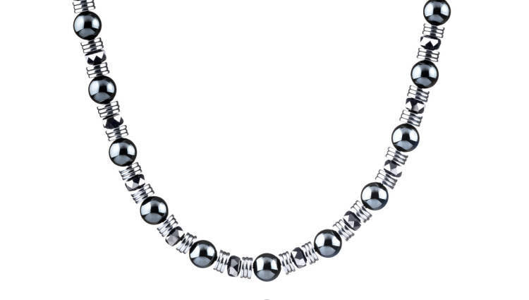 Wired Hematite, 8mm, Silver necklace