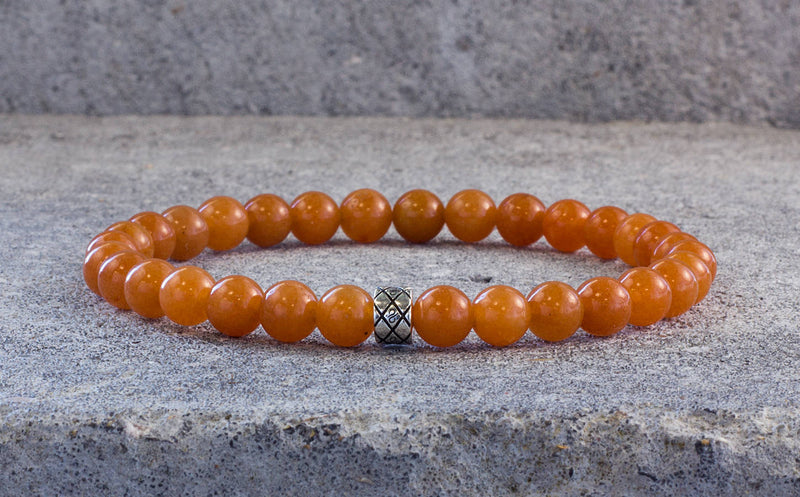 Silver Abacus Soft Orange Aventurine