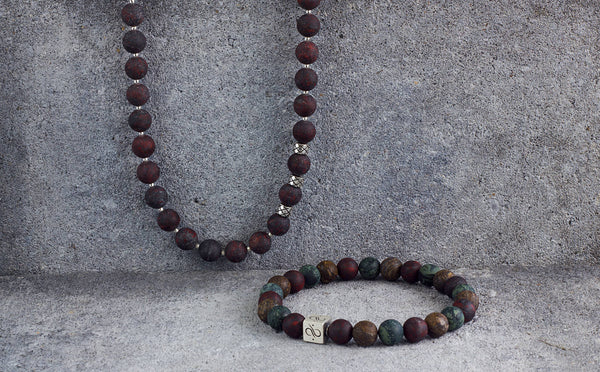 Necklace Matte Brecciated Jasper, 8mm, Set