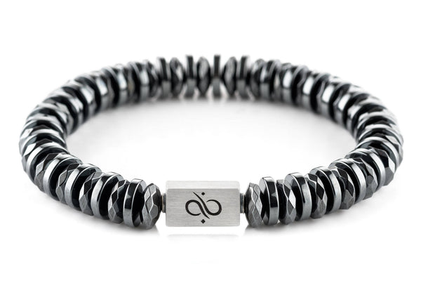 Classic Double Disc Dark Hematite 12mm, Silver bracelet