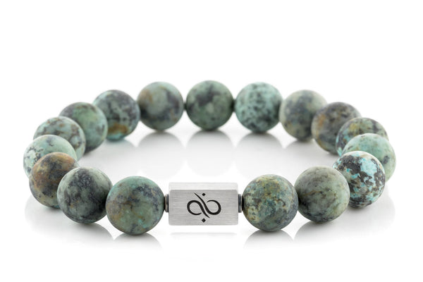 Classic Matte African Turquoise, 12mm, Silver bracelet