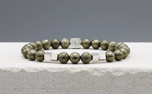 Twin Cube Pyrite, 8mm, Silver bracelet