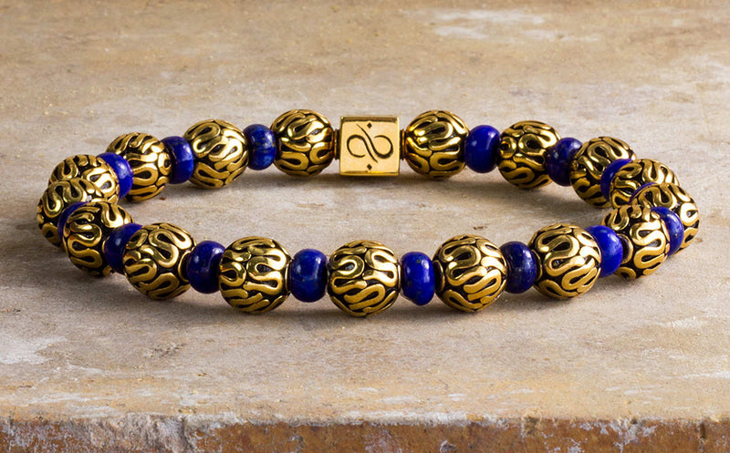 Classic Gold with Lapis Lazuli (8mm) Gold