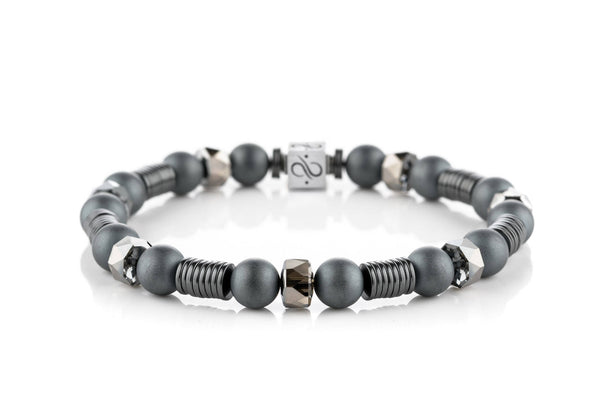 Long Wired Matte Hematite - Silver Night, 8mm, Silver bracelet