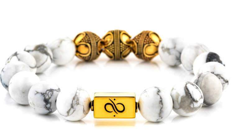Premium Howlite (12mm) Gold