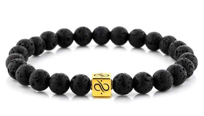 Mens Beaded Bracelet - Minimal Gold Lava - Aurum Brothers
