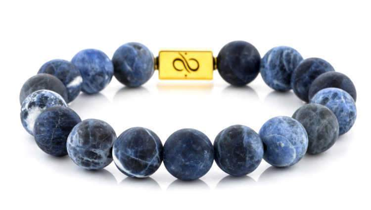 Mens Beaded Bracelet - Classic Gold Matte Sodalite - Aurum Brothers