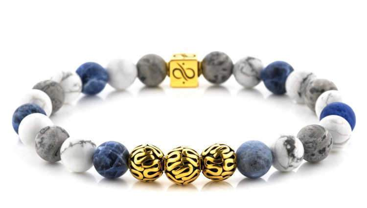 Mens Beaded Bracelet - Premium Minimal Gold Mixed Quattuor - Aurum Brothers