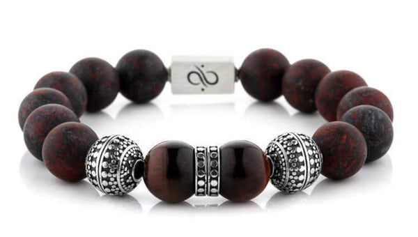 Mens Beaded Bracelet - Special Silver Duo Ruber - Aurum Brothers